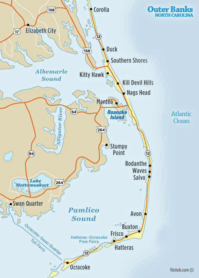 Map of Outer Banks, North Carolina